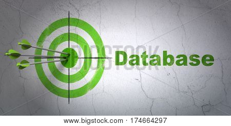 Success Database concept: arrows hitting the center of target, Green Database on wall background, 3D rendering