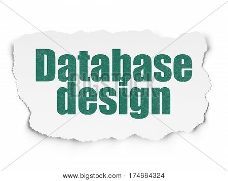 Software concept: Painted green text Database Design on Torn Paper background with  Tag Cloud