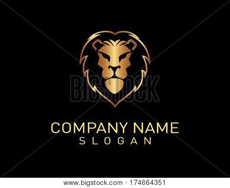modern head lion logo on black background