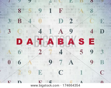 Programming concept: Painted red text Database on Digital Data Paper background with Hexadecimal Code