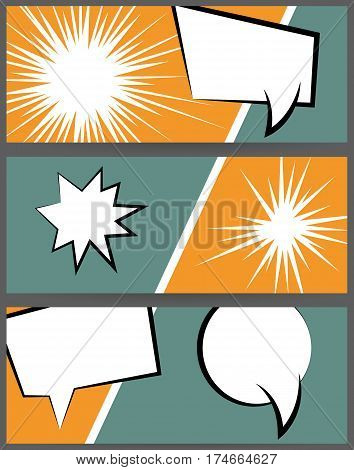 Comic speech bubble explosion on halftone dot background pop art style. Collection abstract creative hand drawn colored blank balloon. Comic book text dialog empty cloud. For sale banner set.