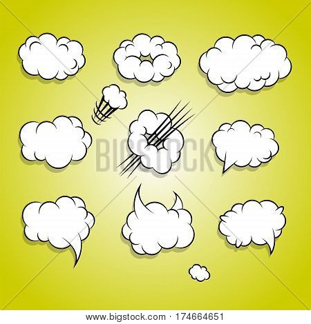 Cartoon collection abstract creative vector white burst blank cloud bubble. Comic speech balloon pop art style. Comic book set text dialog explosion empty cloud. Separate element.