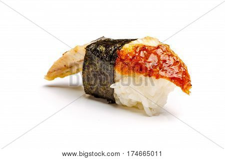 Sushi With Eel On A White Background. Not Isolated.