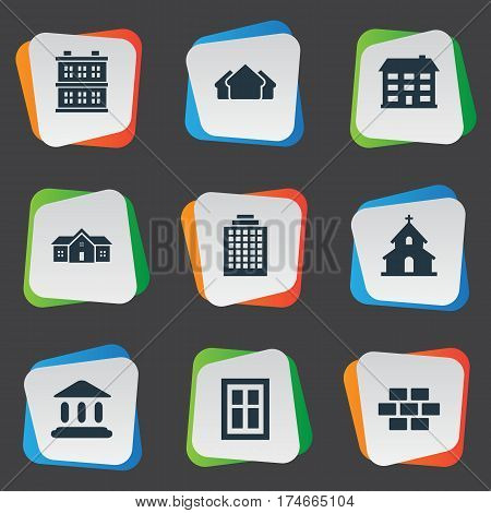 Set Of 9 Simple Construction Icons. Can Be Found Such Elements As School, Popish, Shelter And Other.