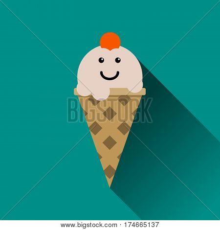 Ice cream flat icon. Icecream cone vector illustration isolated on green