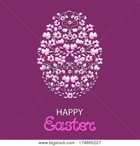 Happy Easter greeting card . Paschal egg made from flowers and herbs on a purple background.