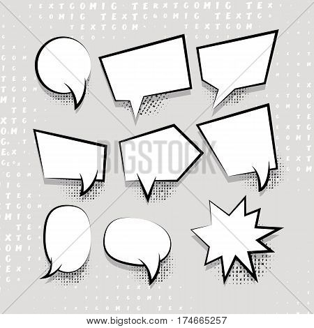 Comic speech set balloon on halftone dot background pop art style. Comic book text dialog empty white template cloud. For sale banner. Abstract creative collection vector white blank bubble.