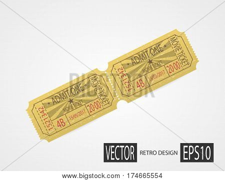 Designer vector illustration isolated on white background. Vintage texture ticket paper in old pop art style. Coupons. Retro cinema ticket.