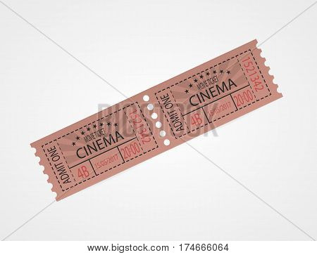 Designer vector illustration isolated on white background. Red retro cinema ticket. Vintage texture ticket paper in old pop art style. Coupons.