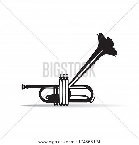 Trumpet isolated black and white vector illustration. Wind brass musical instrument in flat style.