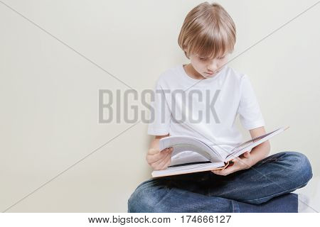 Schoolboy sitting and reading a book at home. Education, school, leisure concept