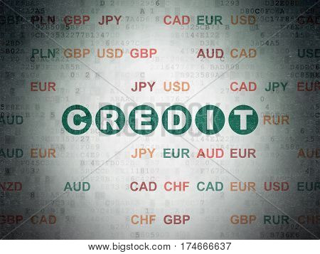 Currency concept: Painted green text Credit on Digital Data Paper background with Currency