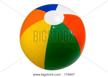 brightly colored beach ball isolated against a white background poster
