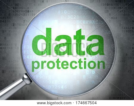 Protection concept: magnifying optical glass with words Data Protection on digital background, 3D rendering