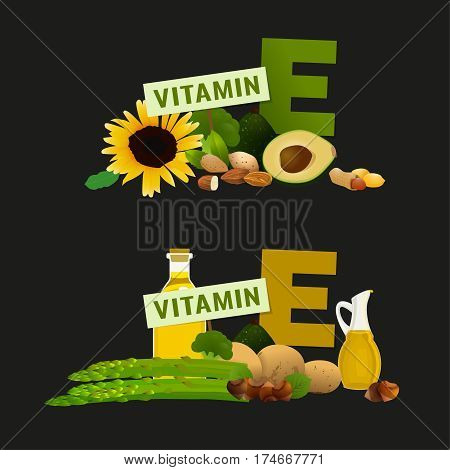 Vitamin E vector illustration. Foods containing vitamin E with a letter E. Source of vitamin E - nuts, avocado, vegetables, fish, oils isolated on dark grey background