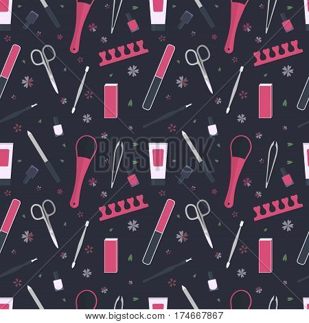 seamless pattern of tools for manicure and pedicure. icon set