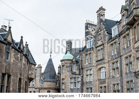 Historical Architecture In The Street Of The Royal Mile In Edinburgh, United Kingdom.