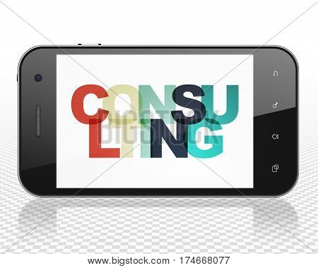 Business concept: Smartphone with Painted multicolor text Consulting on display, 3D rendering