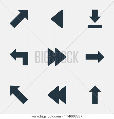 Set Of 9 Simple Indicator Icons. Can Be Found Such Elements As Left Landmark , Advanced, Pointer.