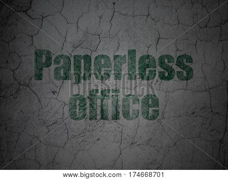Finance concept: Green Paperless Office on grunge textured concrete wall background