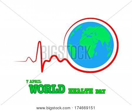 World health day. Vector Illustration. Heartbeat sign with Globe Earth icon on white background.