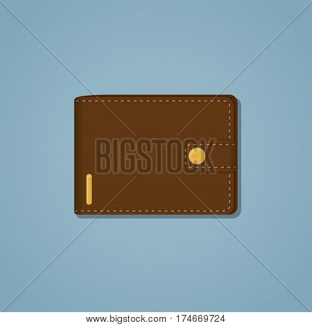 Leather brown wallet with gold snap and stroke on a blue background. A mixture of realistic and flat style with shadow. Business or money concept item.