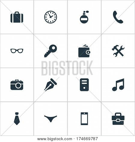 Set Of 16 Simple Accessories Icons. Can Be Found Such Elements As Ink Pencil, Time, Billfold And Other.