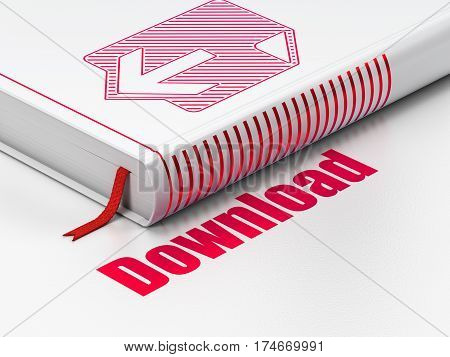 Web design concept: closed book with Red Download icon and text Download on floor, white background, 3D rendering