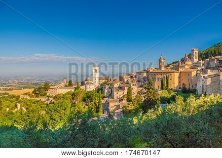 Historic Town Of Assisi In Beautiful Morning Light At Sunrise, Umbria, Italy