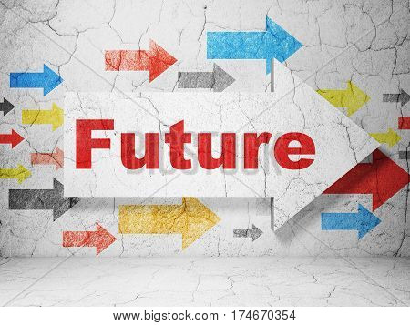 Time concept:  arrow with Future on grunge textured concrete wall background, 3D rendering