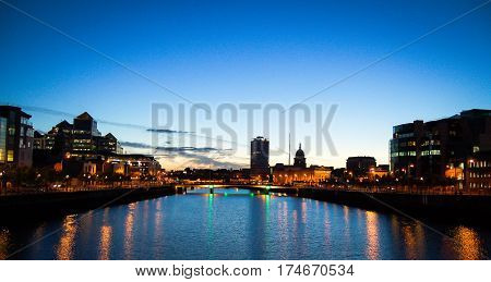 dublin at sunset with blue sky in the background