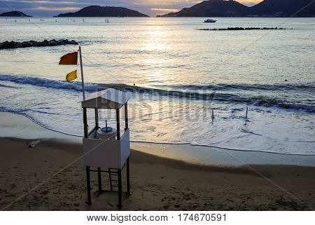 lifeguard tower on lerici beach in la spezia italy at sunset