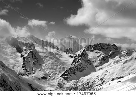 Black And White View On Winter Mountains In Snow