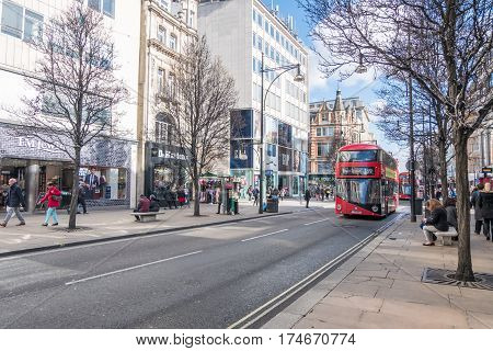 London, England - 24 February 2017 : People Walking And Shopping Around Oxford Street, The Major Roa