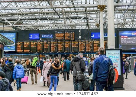 Edinburgh, United Kingdom. 17 February 2017 : People Walking Around Edinburgh Waverley Train Station
