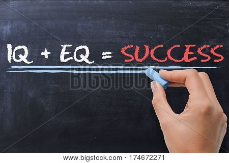 Emotional quotient EQ plus intelligence quotient IQ is Success formula