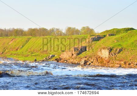 View of the river Tosna in Leningrad Region Russia.