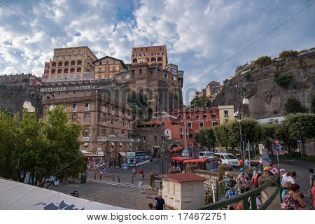 Sorrento Italy - August 31 2016: People visit the port of Sorrento popular tourist destination in Italy.