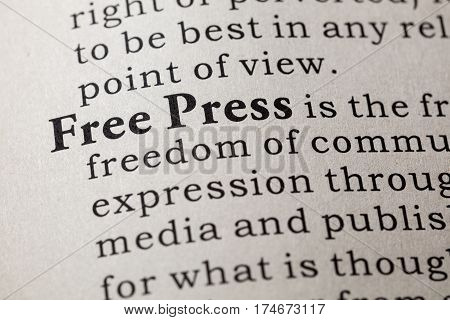 Fake Dictionary Dictionary definition of the word free press. including key descriptive words.
