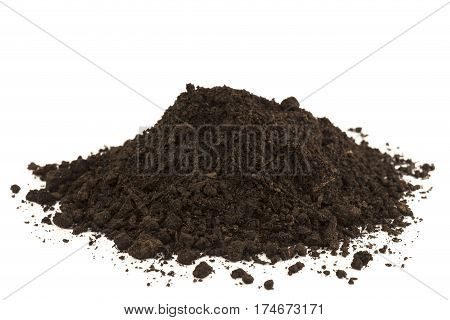 Black dirt heap isolated on white background