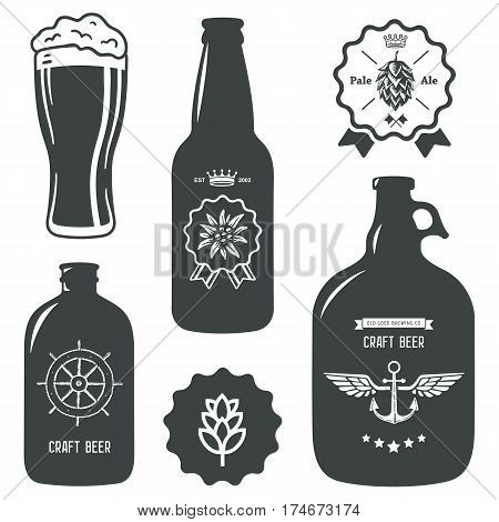 vintage craft beer brewery bottles label sign set