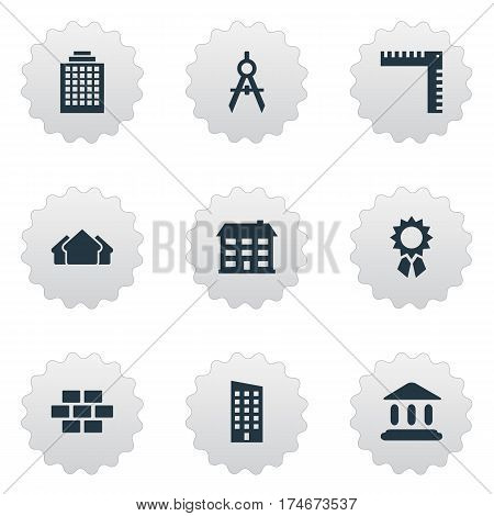 Set Of 9 Simple Architecture Icons. Can Be Found Such Elements As Engineer Tool, Shelter, Length And Other.