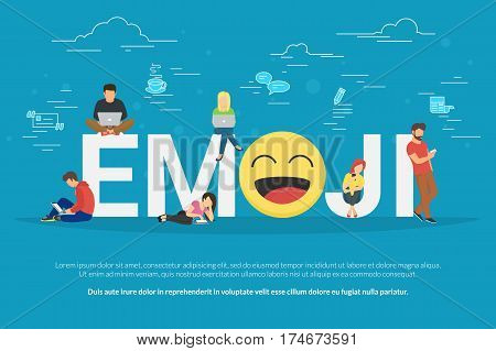 Emoji concept illustration young men and women standing near letters with emoji head symbol and using their smart phones and laptops for texting and leaving comments. Flat design on blue background