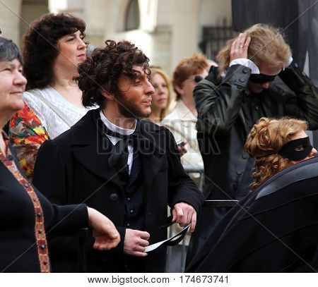 St. Petersburg, Russia - Jul 5, 2014: Actor Iliya Del In Image Of The Great Russian Poet, Pushkin At
