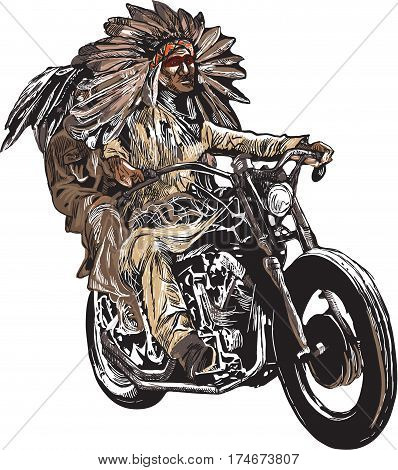 An hand drawn vector freehand sketching. Native American couple lovers drive a motorcycle. Note - The bike is not specific brand - something as a common chopper. Colour version of riders.