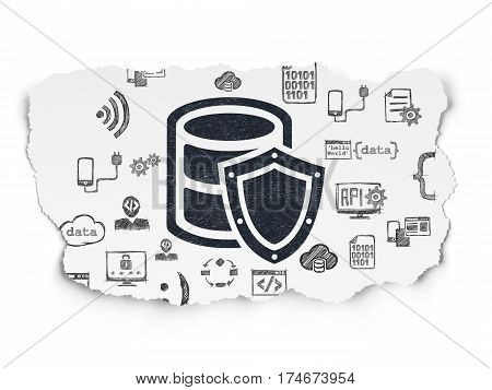 Database concept: Painted black Database With Shield icon on Torn Paper background with  Hand Drawn Programming Icons