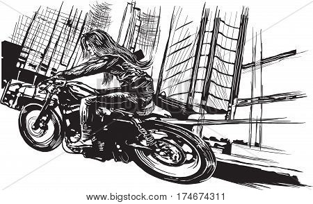 An young woman with long hair riding motorcycle fast bike in a modern city. Freehand drawing vector sketch. NOTE - this illustration have not photo opportunity.