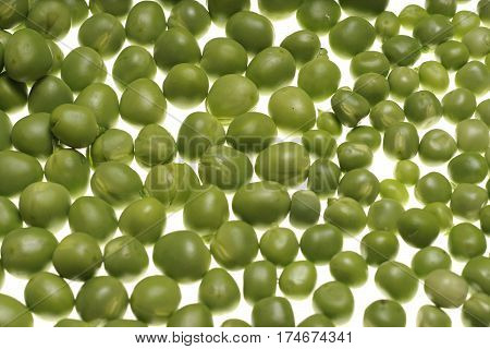 Fresh Raw Green Peas On White Background