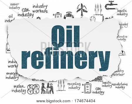 Manufacuring concept: Painted blue text Oil Refinery on Torn Paper background with  Hand Drawn Industry Icons