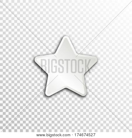 Empty white paper plate base for text. Simple star form card on transparent background.